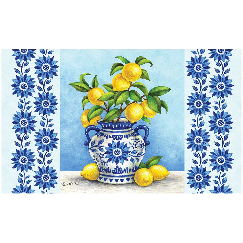 Blue Willow and Lemons Doormat