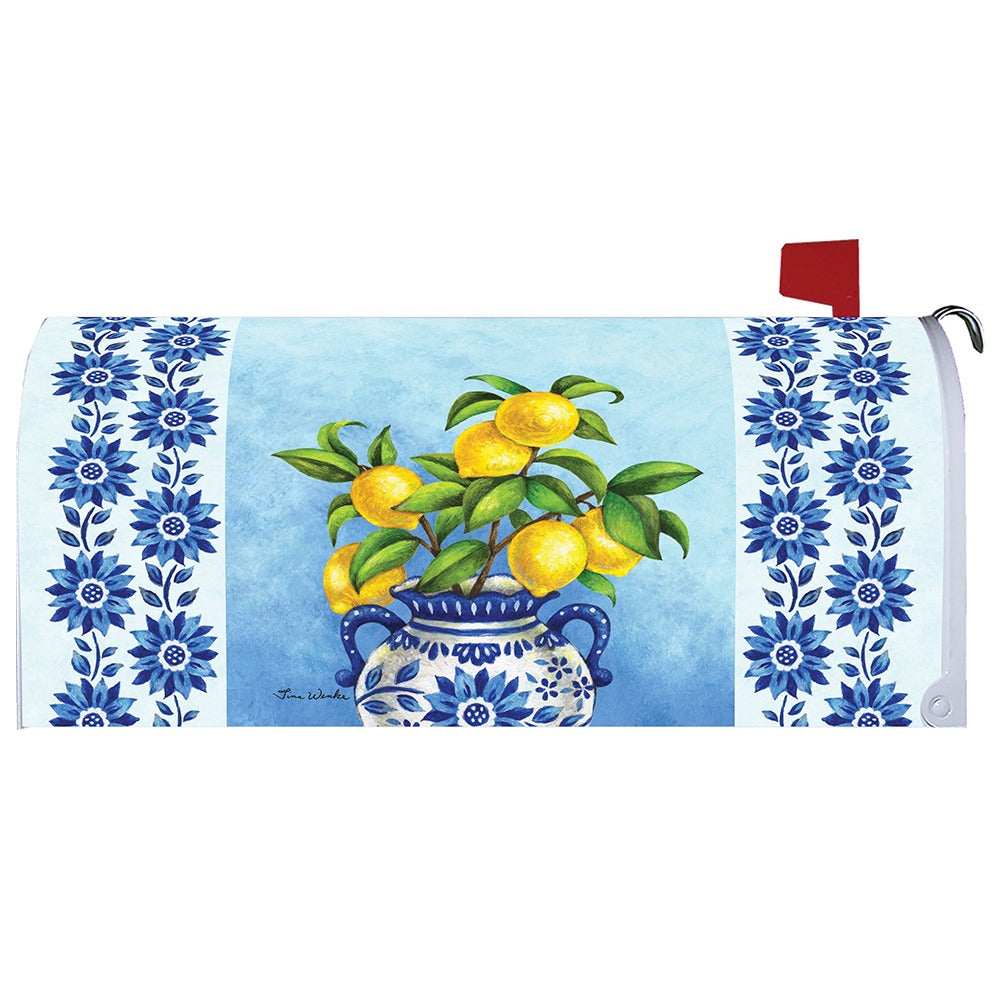 Blue Willow and Lemons Mailbox Cover