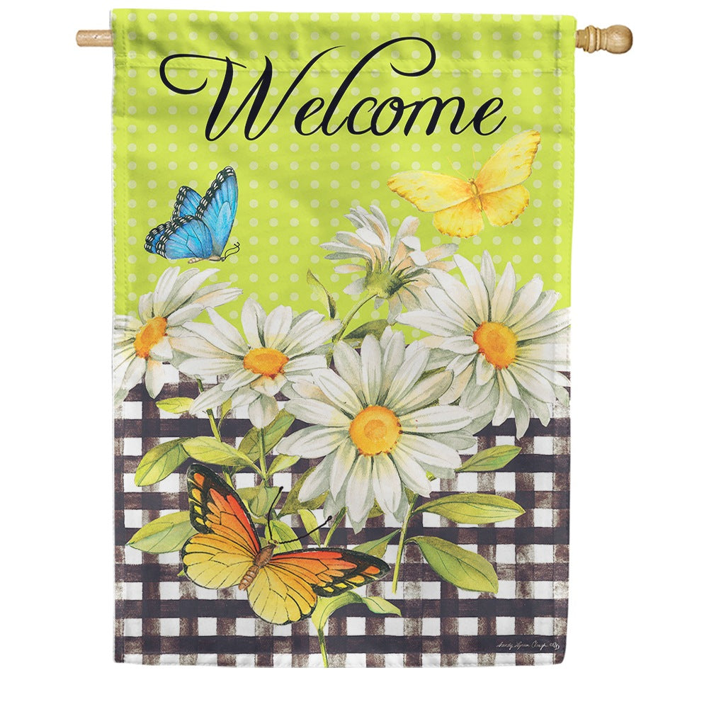 Daisies and Butterflies Double Sided House Flag