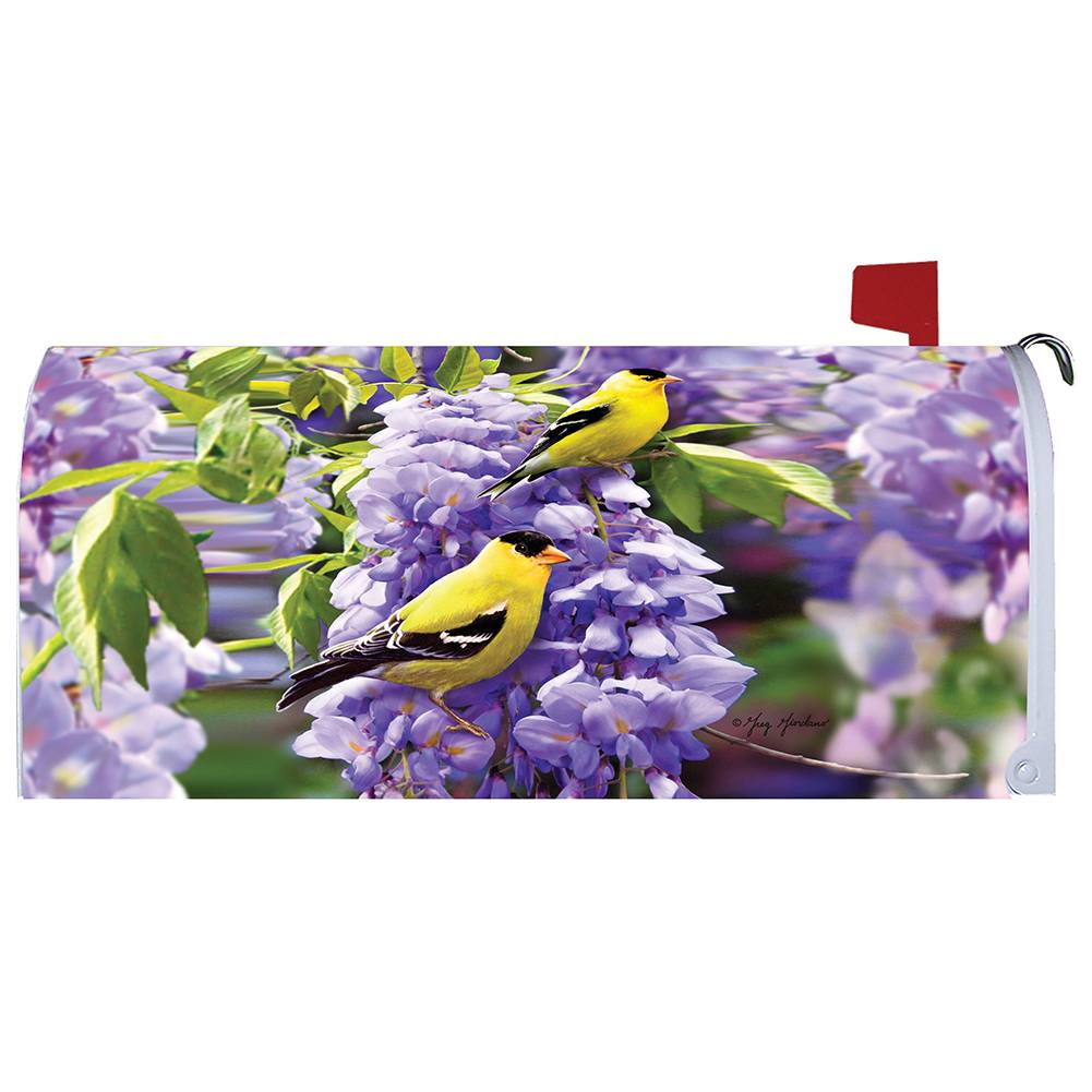 Goldfinch Wisteria Mailbox Cover