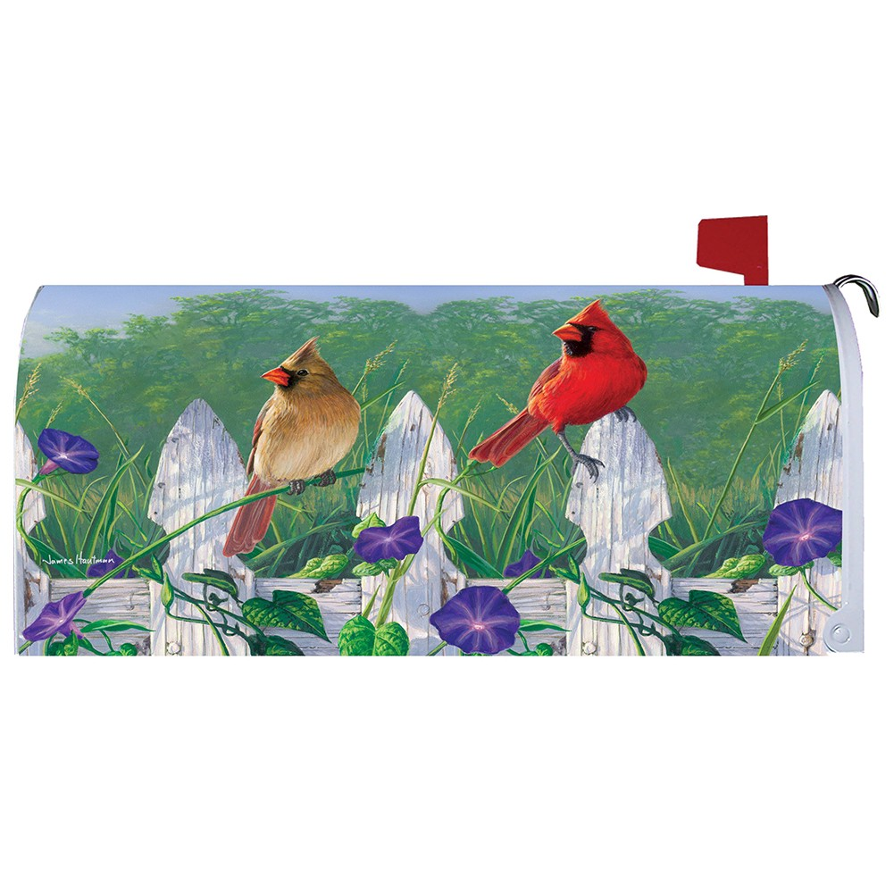 Fence Cardinals Mailbox Cover