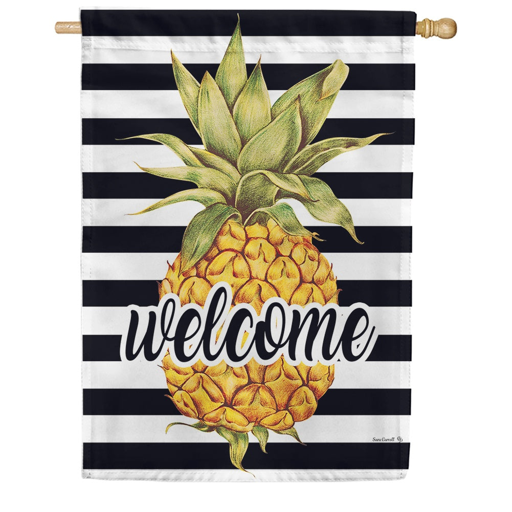Welcome Pineapple Stripes Double Sided House Flag