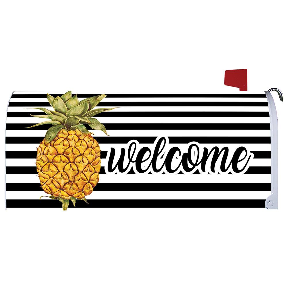 Welcome Pineapple Stripes Mailbox Cover