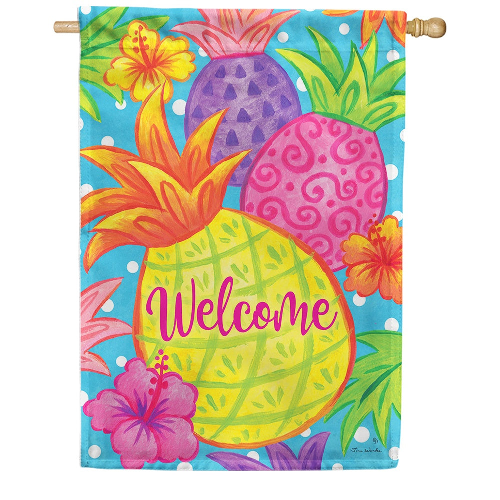 Tropical Pineapple Double Sided House Flag