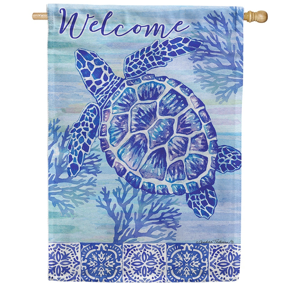 Turtles and Tiles Double Sided House Flag