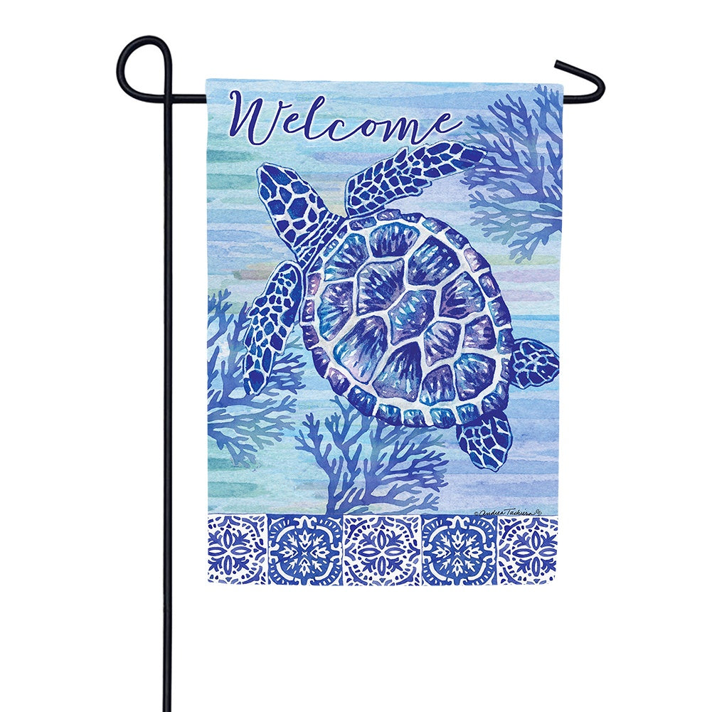 Turtles and Tiles Garden Flag