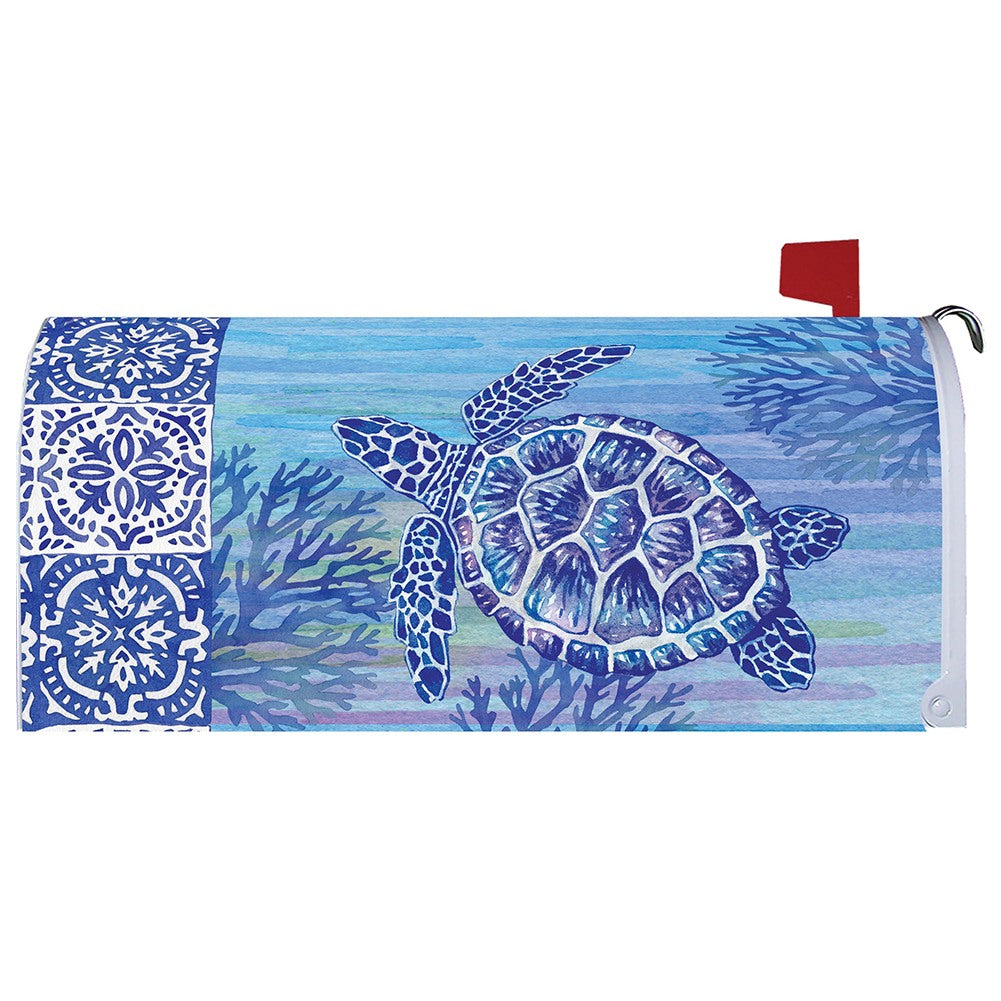 Turtles and Tiles Mailbox Cover