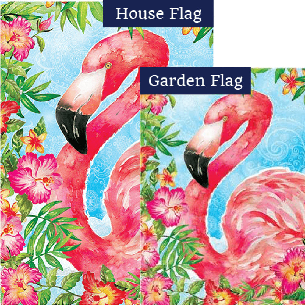 Floral Flamingo Tropical Flags Set (2 Pieces)