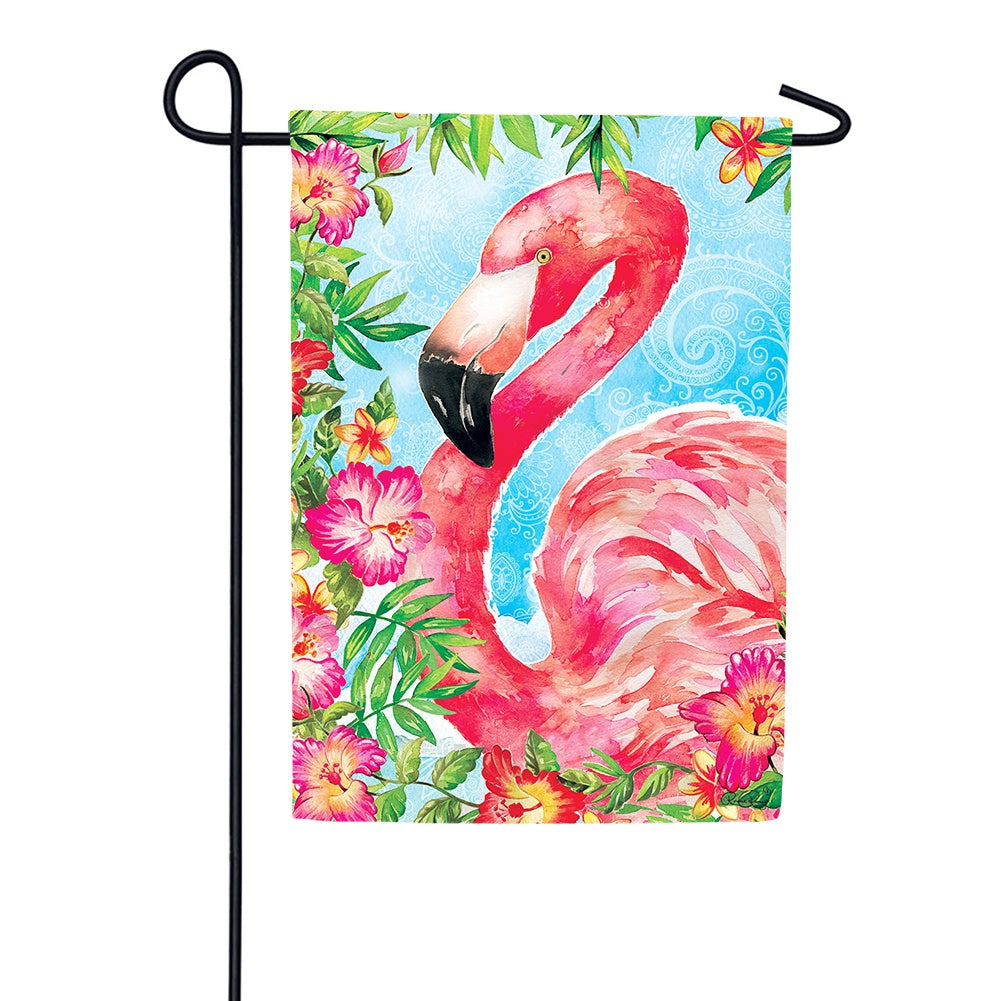 Floral Flamingo Tropical Garden Flag