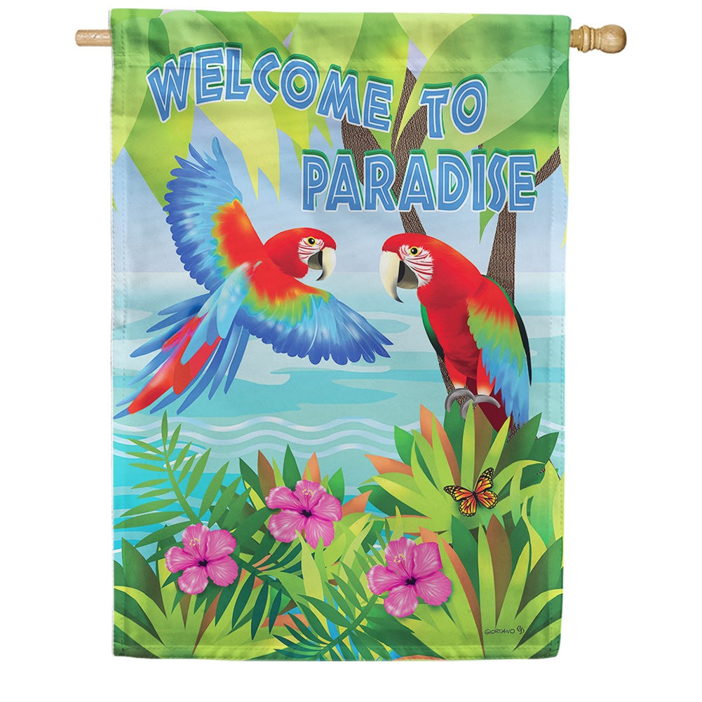 Paradise Parrots Double Sided House Flag