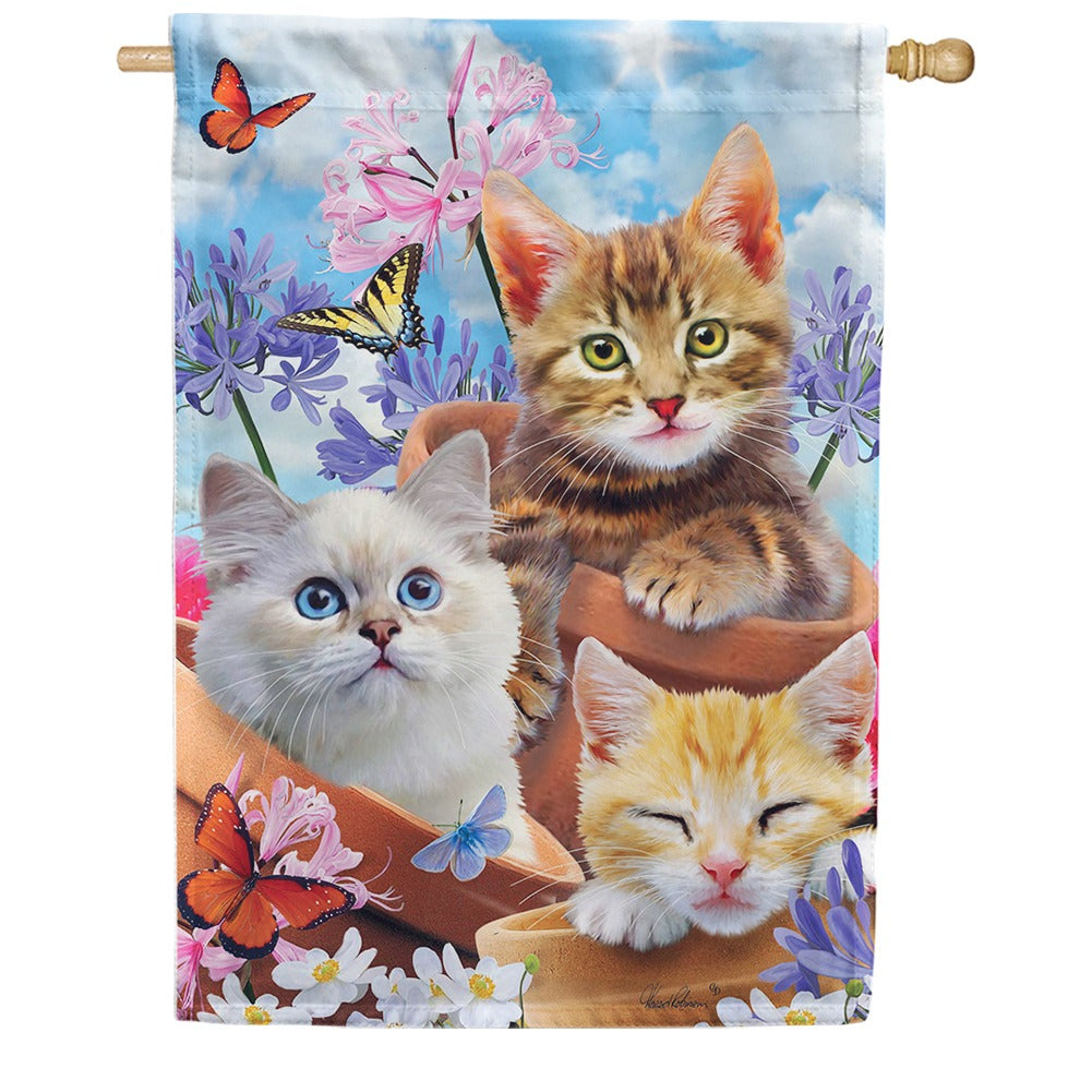 Kittens and Flowers House Flag