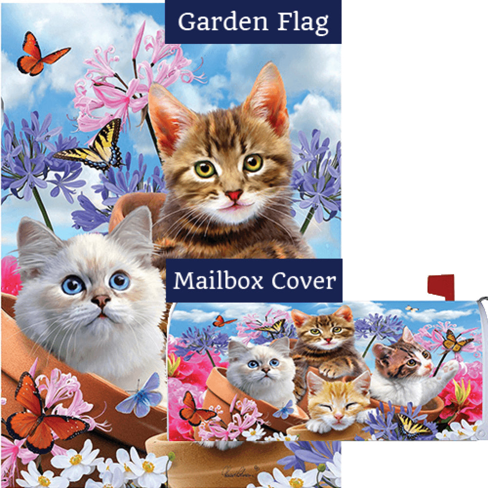 Kittens and Flowers Flag Mailwrap Set (2 Pieces)
