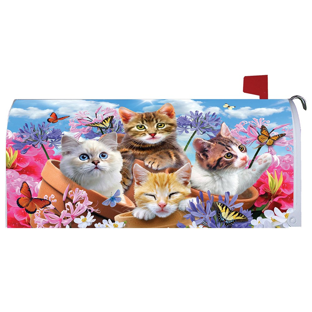 Kittens and Flowers Mailbox Cover