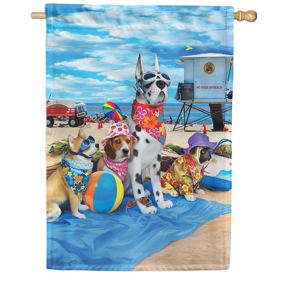 Dogs in the Beach House Flag