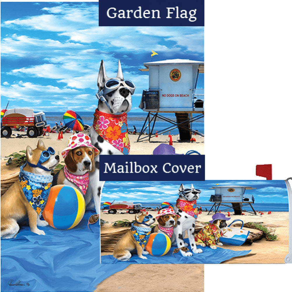 Dogs in the Beach Flag Mailwrap Set (2 Pieces)