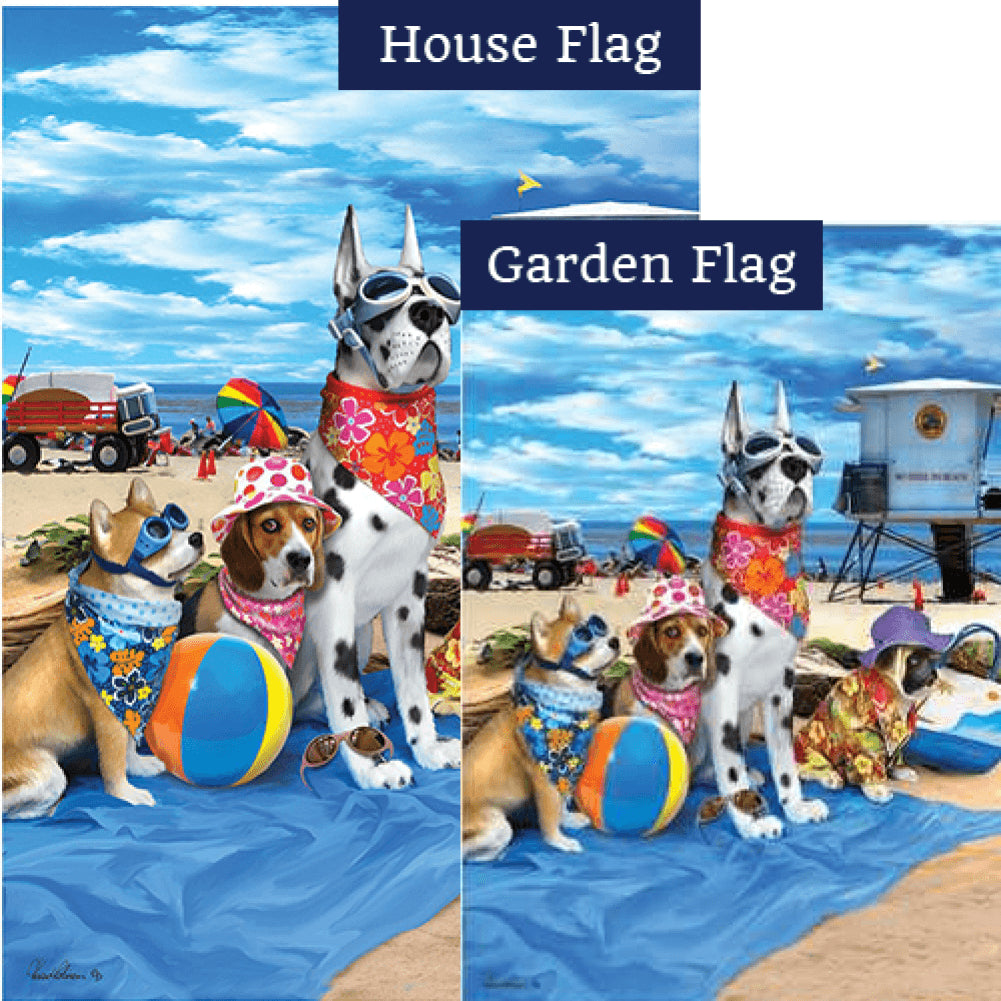 Dogs in the Beach Flags Set (2 Pieces)
