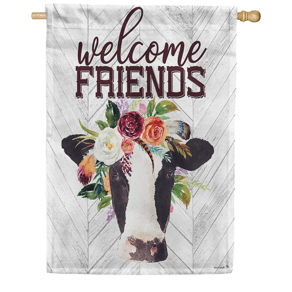 Boho Cow Double Sided House Flag
