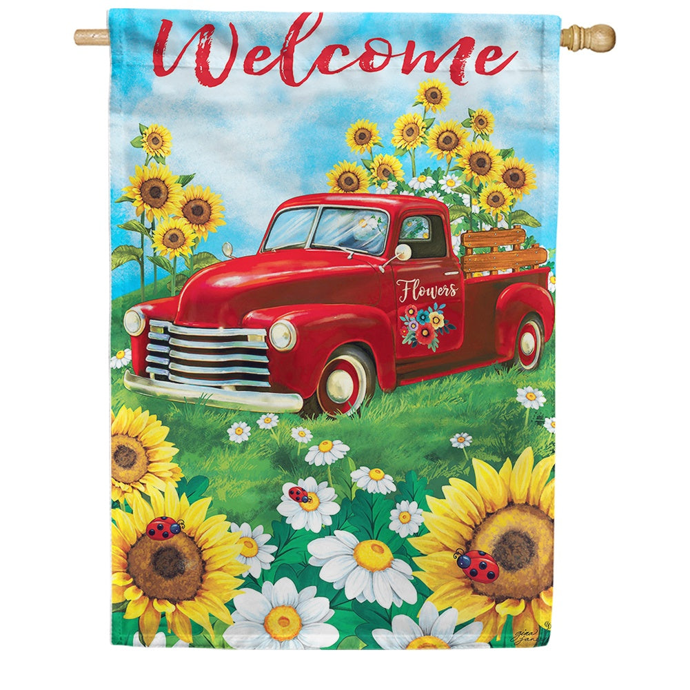Sunflower Truck Double Sided House Flag