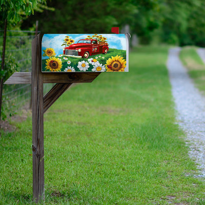 Sunflower Truck Mailbox Cover