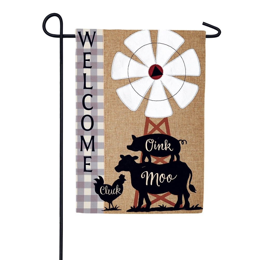 Windmill Stack Burlap Garden Flag