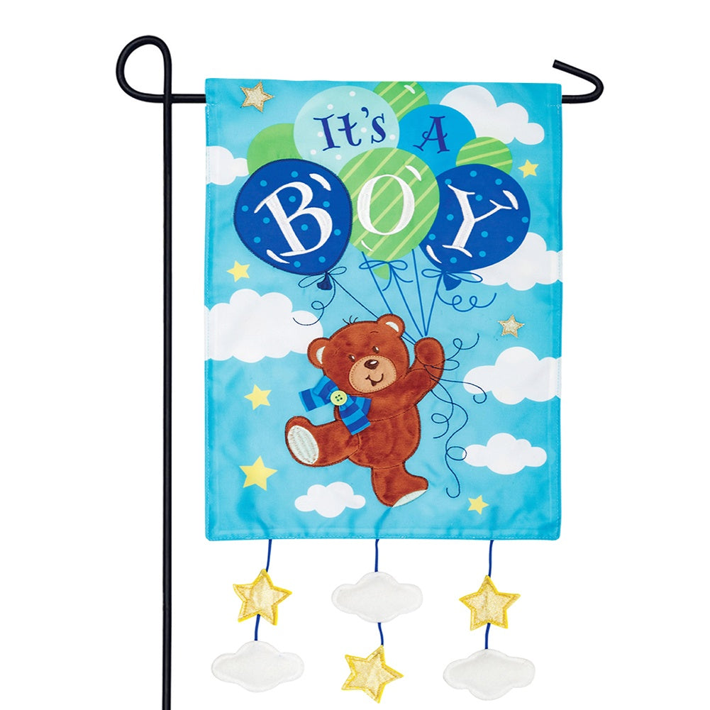 It's a Boy Appliqued Garden Flag