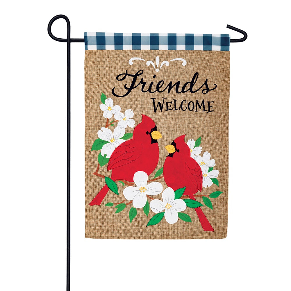 Cardinal Friends Burlap Garden Flag
