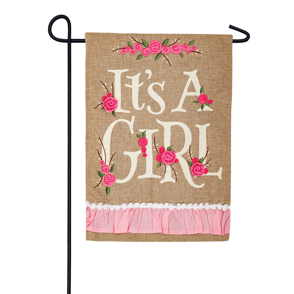 It's A Girl Burlap Garden Flag