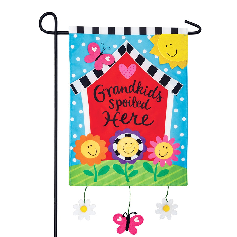 Grandkids House Appliqued Garden Flag