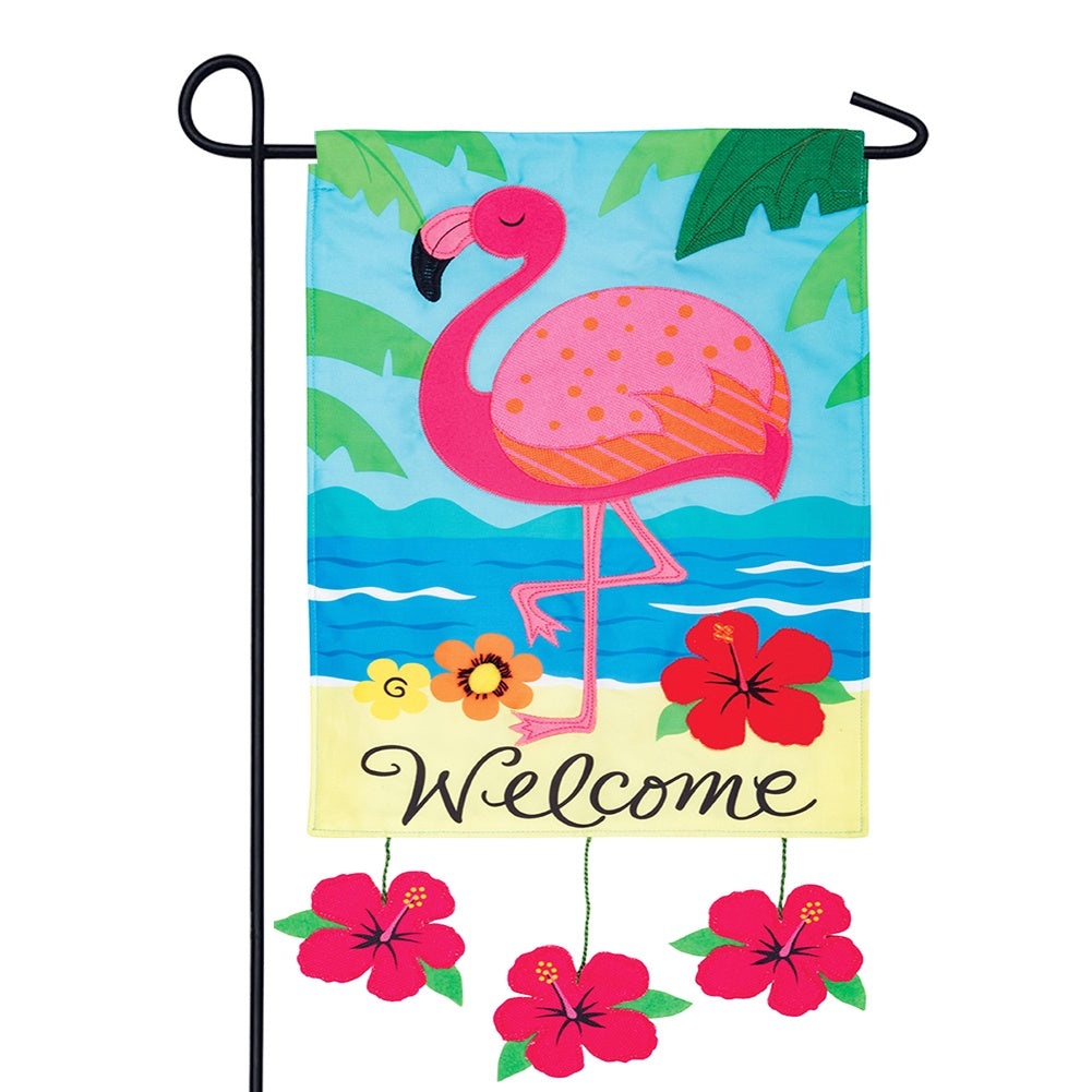 Flamingo Welcome Appliqued Garden Flag
