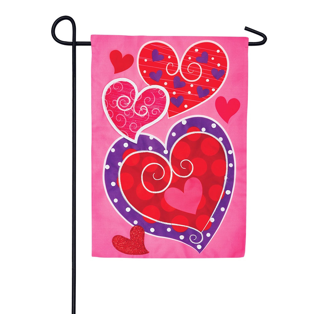 Whimsey Hearts Appliqued Garden Flag