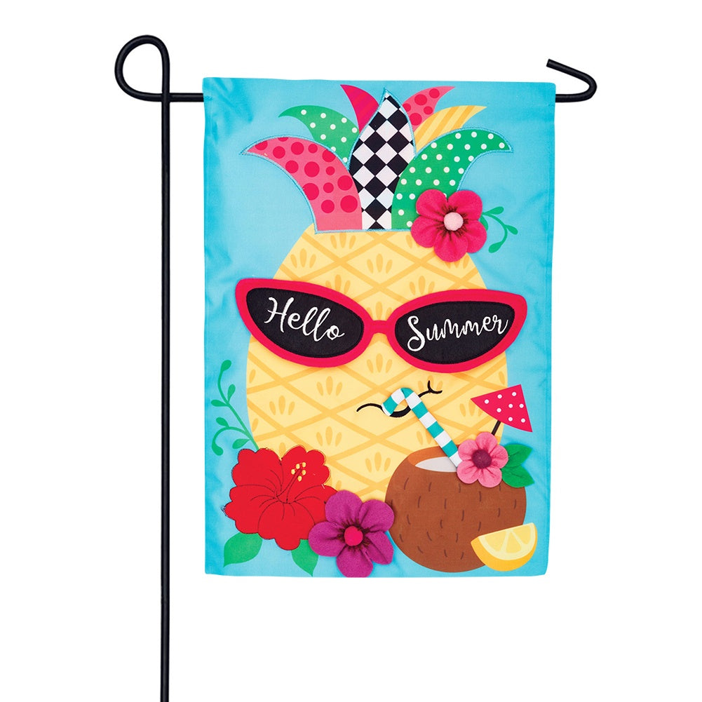 Pineapple Shades Appliqued Garden Flag