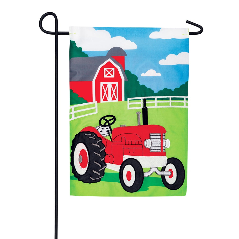 Farm Tractor Appliqued Garden Flag
