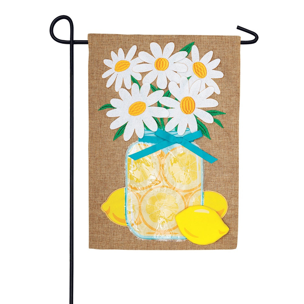 Lemon And Daisies Burlap Garden Flag