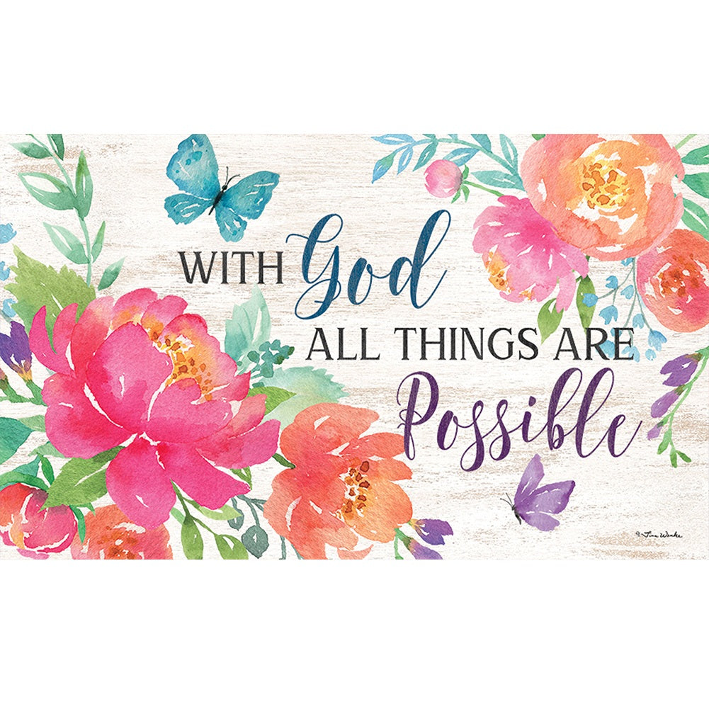 With God All Things Are Possible Doormat