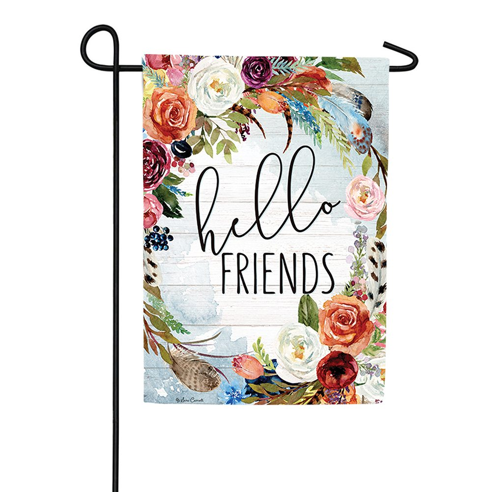 Hello Friends Double Sided Garden Flag