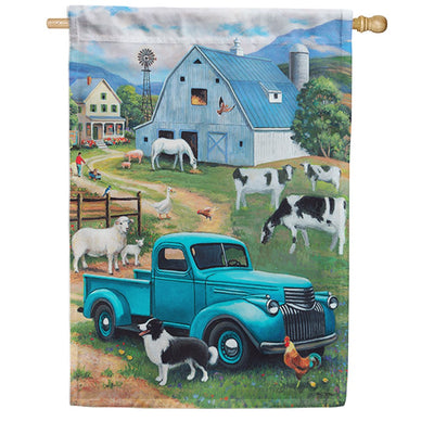 Custom Decor Farm Truck Double Sided House Flag