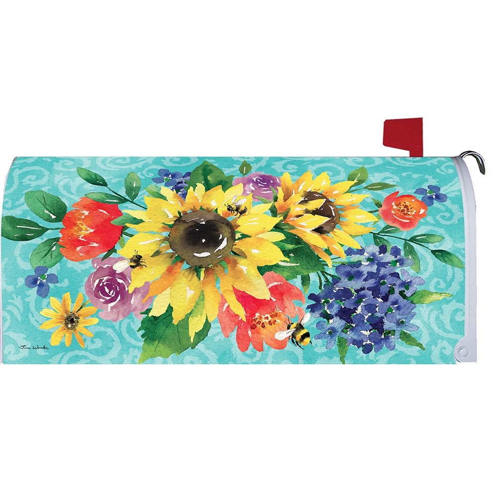Summer Floral Bouquet Mailbox Cover