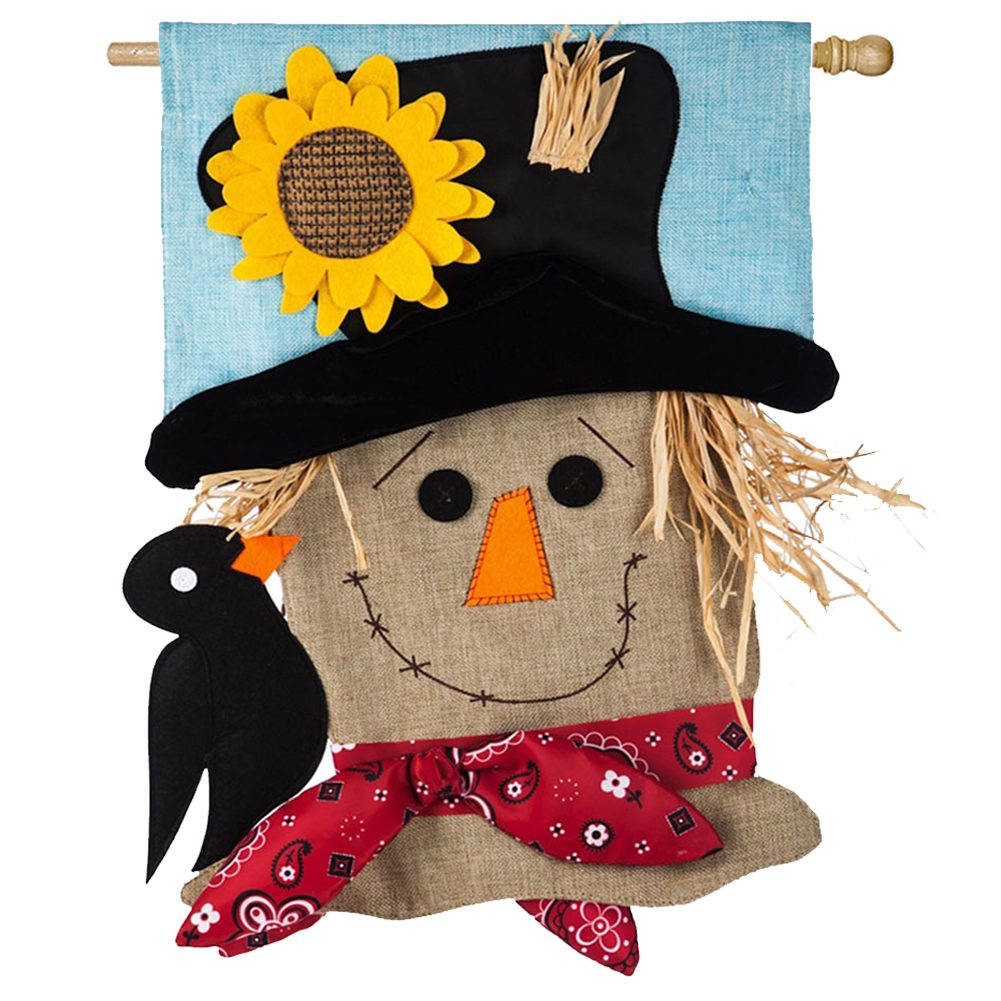 Scarecrow Season Burlap Double Sided House Flag