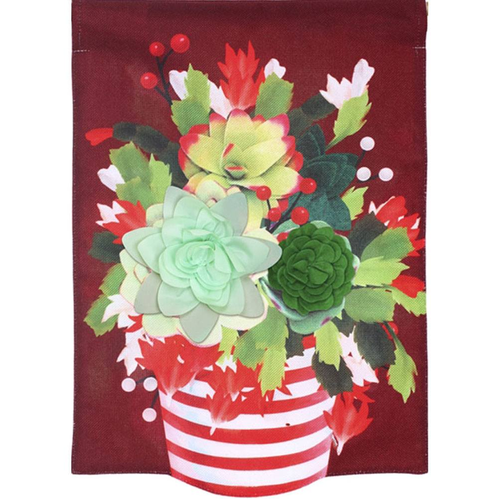 Holiday Succulent Burlap House Flag