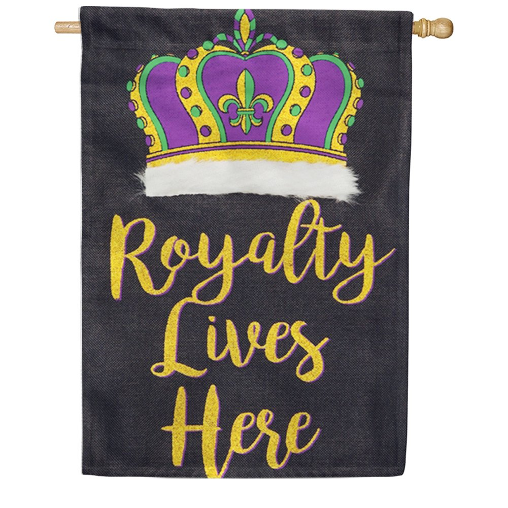 Royalty Lives Here Burlap House Flag