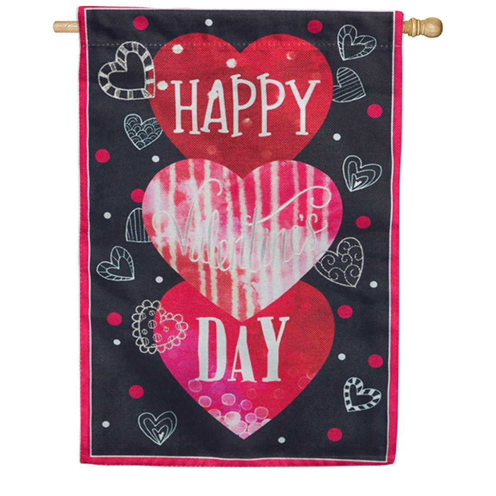 Valentine's Heart Trio Burlap House Flag