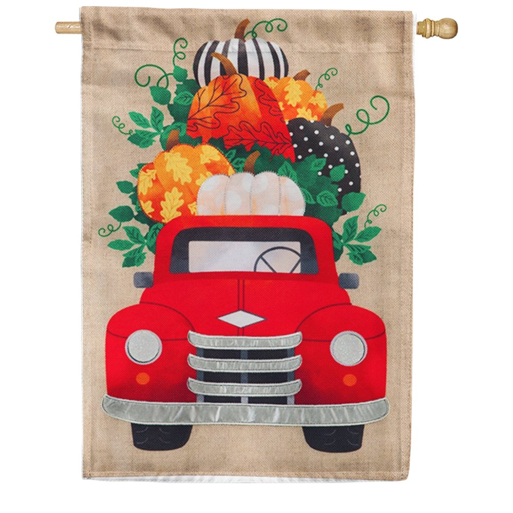 Fall Pumpkins Red Truck Burlap House Flag
