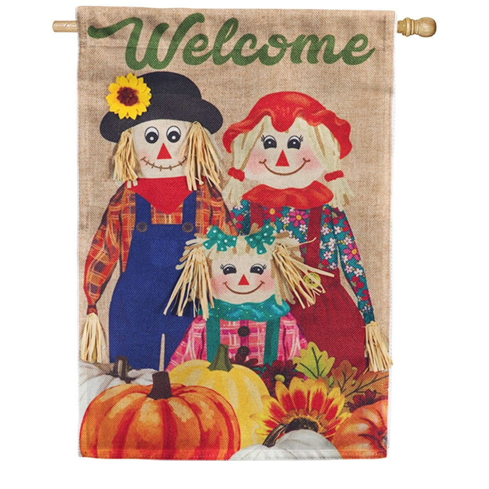 Scarecrow Family Burlap House Flag