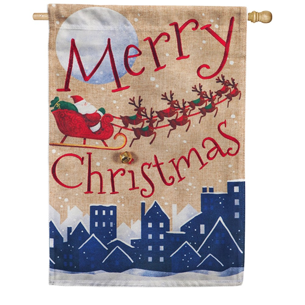 Santa's Sleigh Merry Christmas Burlap House Flag
