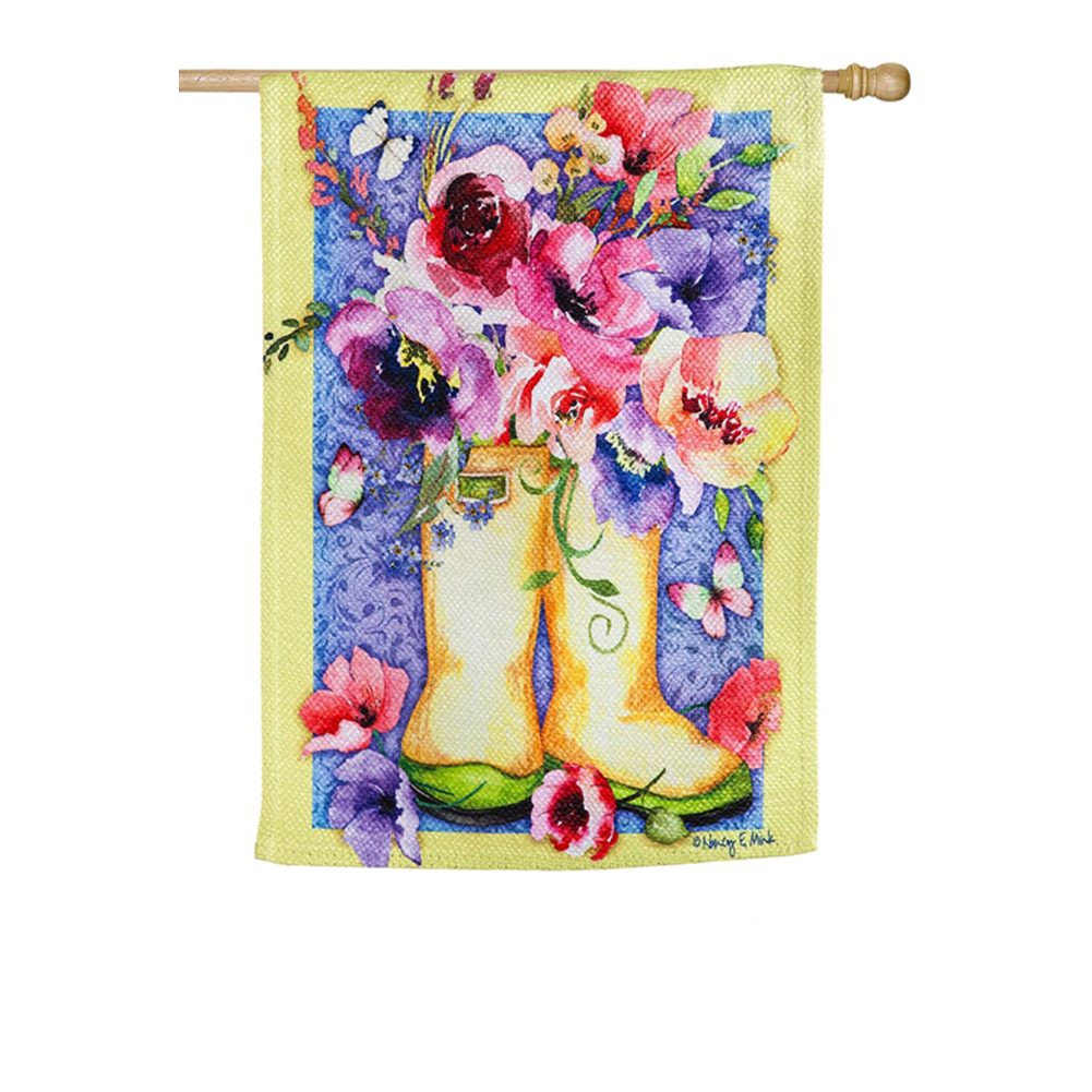 Floral Boots Textured Suede House Flag
