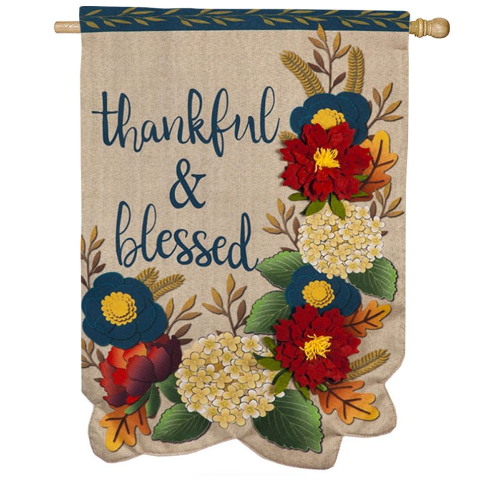 Thankful and Blessed Floral Linen Double Sided House Flag