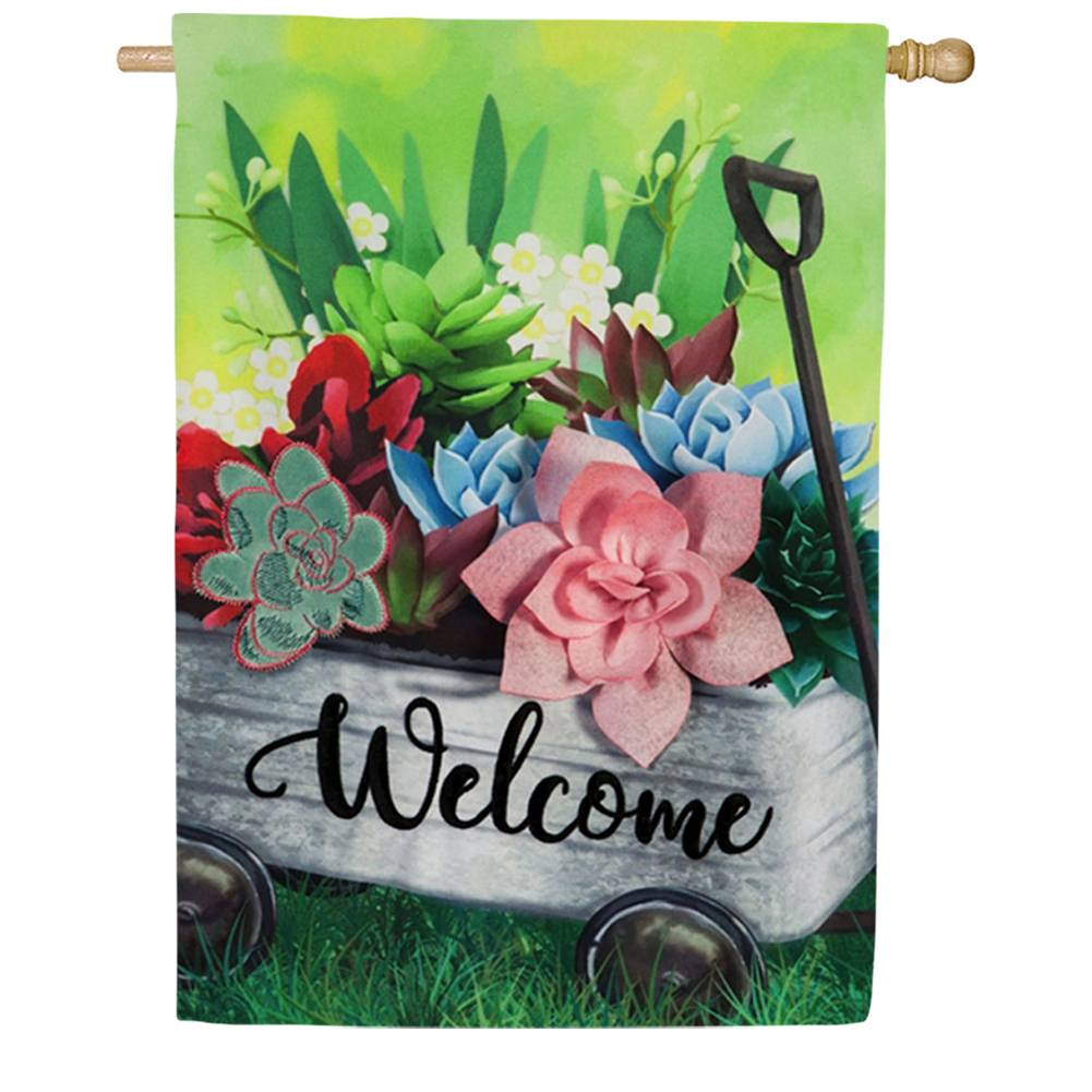 Galvanized Wagon with Succulents Double Sided House Flag