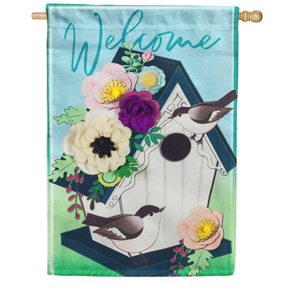 Garden Birdhouse Double Sided House Flag