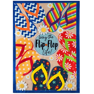 Flip Flop Life Summer Linen Double Sided House Flag
