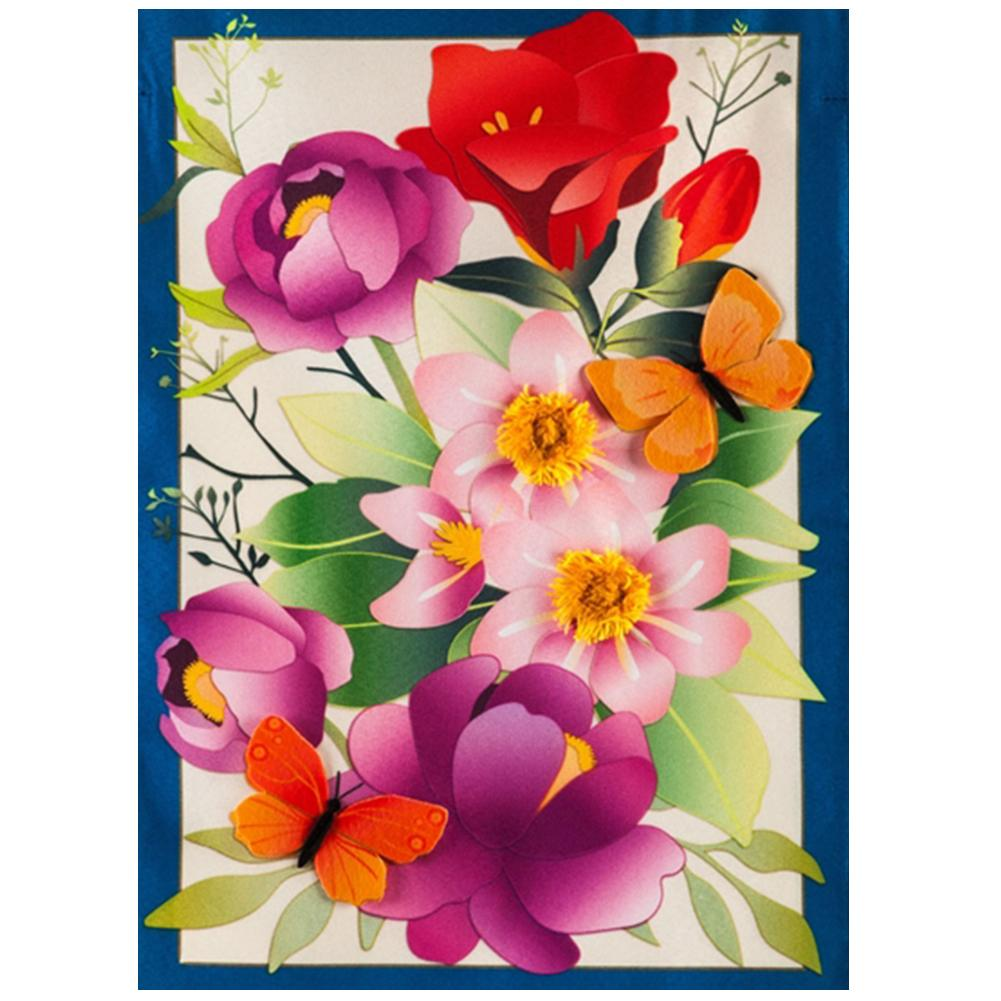 Summer Floral Linen Double Sided House Flag